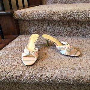 Fioni Slide Pink Green Sandals NWT 8